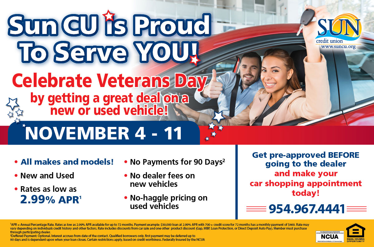 Celebrate Veterans Day with a great deal on a new or used car